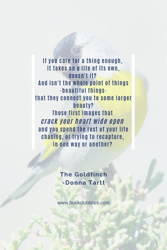 The Goldfinch Book Club Questions and Cocktail Recipe Quote
