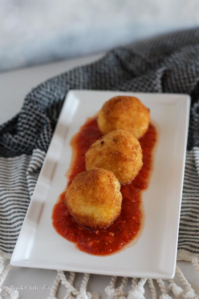 Arancini with Pancetta and Garlic Sauce
